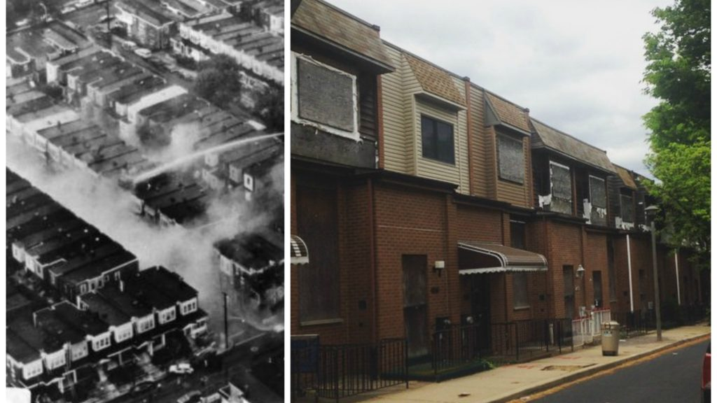 Left: After the bombing. Right: A more recent photograph of the rebuilt, but still beleaguered block.