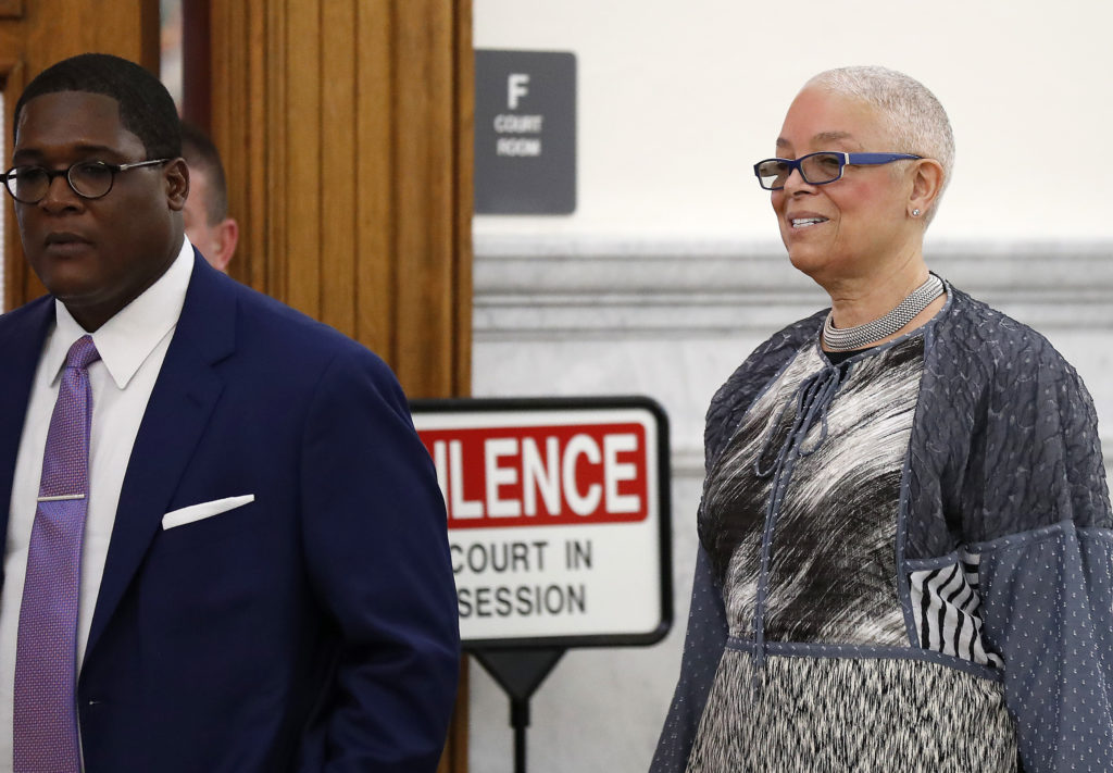 Camille Cosby, right, enters the courtroom with Andrew Wyatt, left, at the Montgomery County Courthouse in Norristown, PA on June 12, 2017. Cosby is on trial for sexual assault.
