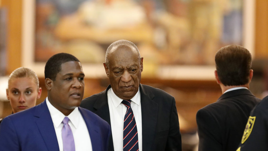 Bill Cosby, center, leaves the courtroom after the jury had a question at the Montgomery County Courthouse in Norristown, PA on June 12, 2017. Cosby is on trial for sexual assault.