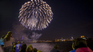 Along the Delaware River Waterfront, fireworks burst into the night sky during the Wawa Welcome America July 4th festival.