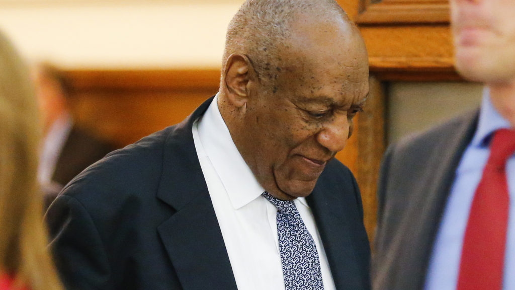 Actor Bill Cosby walks out of the courtroom during a break at the Montgomery County Courthouse on June 8 in Norristown, Pennsylvania.