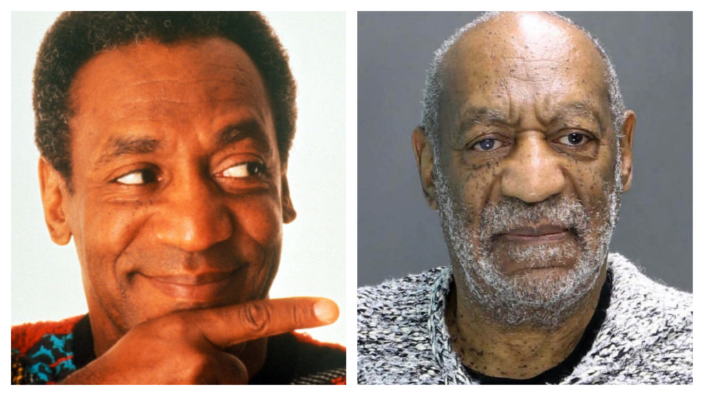 "Left: Bill Cosby on ""The Cosby Show."" Right: Bill Cosby's mugshot following sexual assault charges."