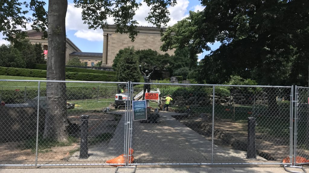 Philly's most famous statue began Summer 2017 behind a chain link fence