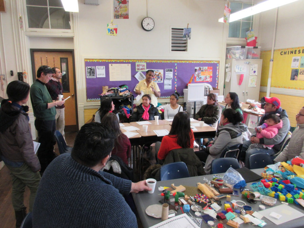 Community members gathered to discuss the park at Francis Scott Key School in South Philadelphia. Via SEAMAAC.