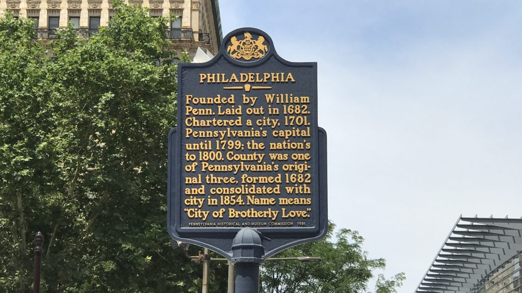The historical marker for Philly at City Halll
