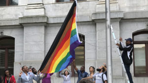 In 2017, the city unveiled a new Pride flag