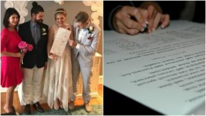 Left: John Dubitsky and Sarah Young with loved ones at their living room wedding ceremony. Right: An unofficial Quaker wedding certificate, with room for guests to sign too.