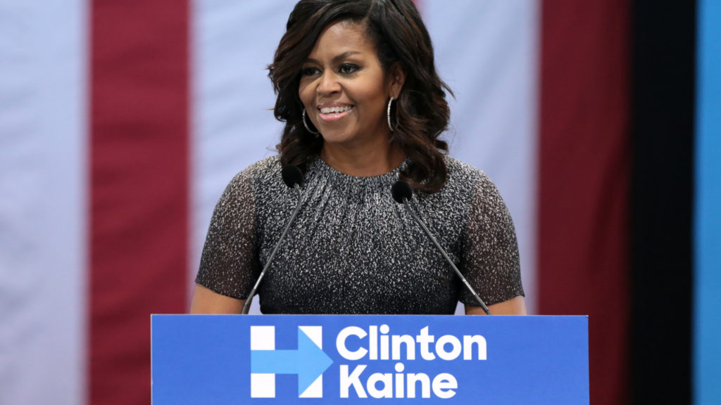 Former First Lady of the United States Michelle Obama speaking with supporters of Hillary Clinton at a campaign rally in Phoenix, Arizona.