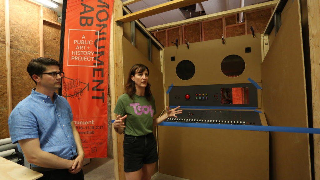 Monument Lab Artistic Director Paul Farber and Sample Philly Creator Kara Crombie with the then-unfinished sculpture.