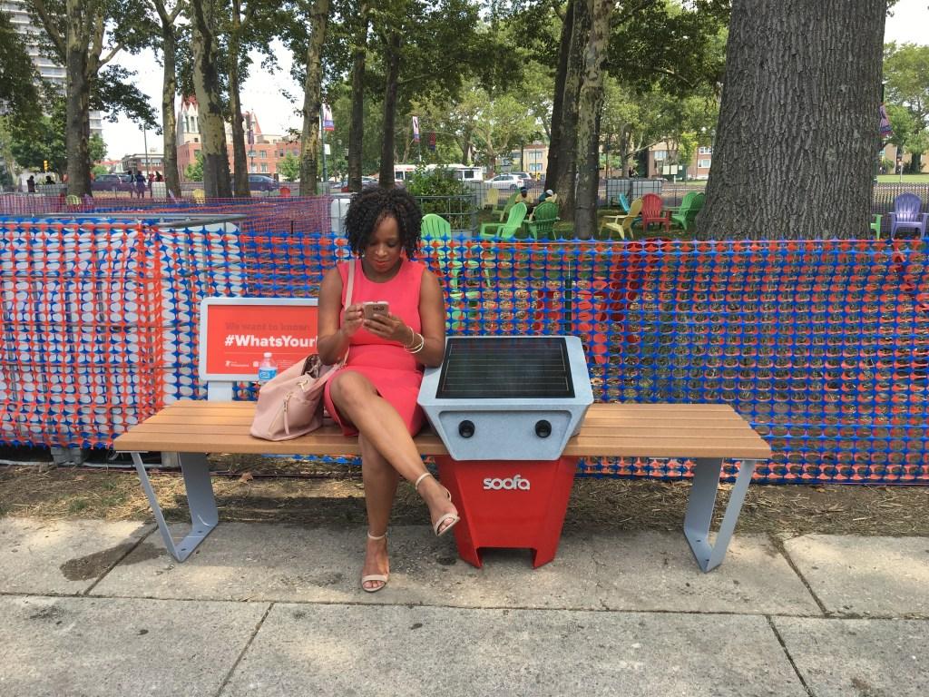 A Soofa smart bench