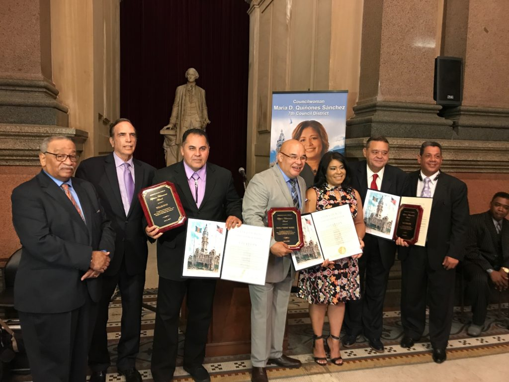 "At the Siempre Salsa Philly Week reception. Left to right: Jesse Bermudez, SSP co-founder; Rob Bernberg, SSP co-founder; Willie Ruiz, honoree; Pablo ""Chino"" Nunez, honoree; Quetcy Lozada, chief of staff to Councilwoman Maria Quinones-Sanchez; Ray Collazo, honoree; Carlos Sanchez, SSP co-founder."