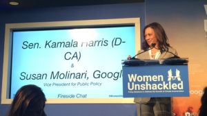 Kamala Harris speaks at the Women Unshackled conference at Washington, D.C. Peak Johnson/Billy Penn