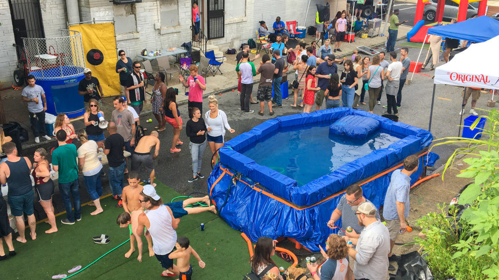 A block party pool made out of road blocks