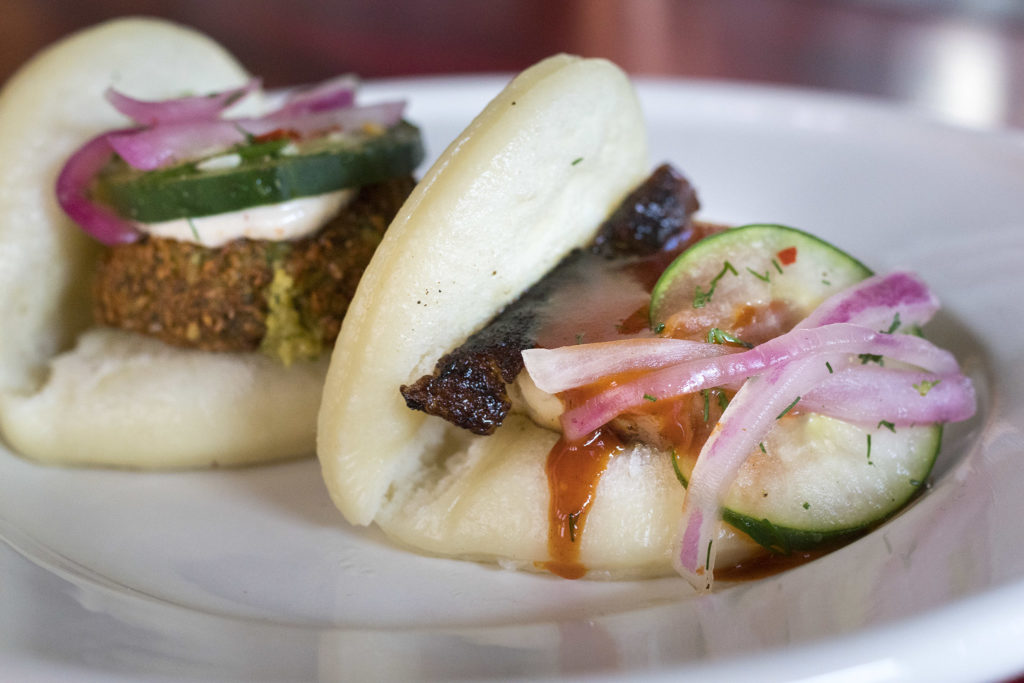 Soybean falafel and pork belly buns