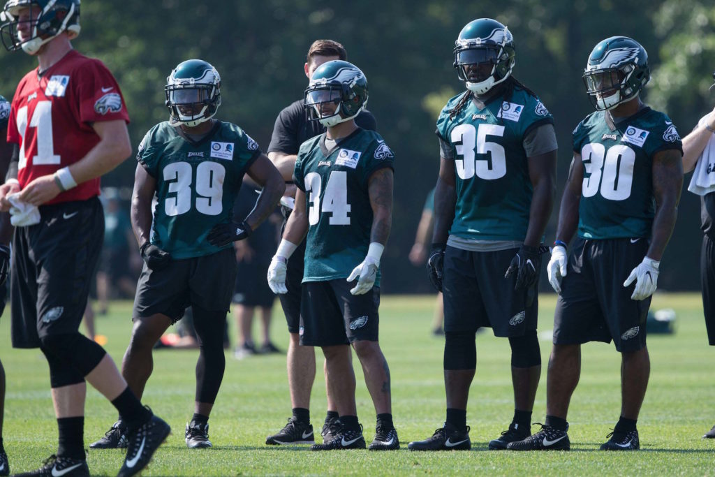 Eagles RBs Byron Marshall, Donnel Pumphrey, LeGarrette Blount and Corey Clement during mini camp in June.