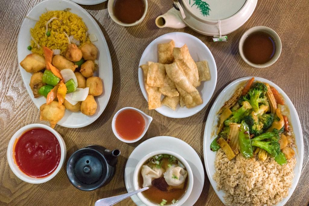 Sweet and sour pork, wonton soup, mixed vegetables, crispy noodles and tea at Golden Empress Garden