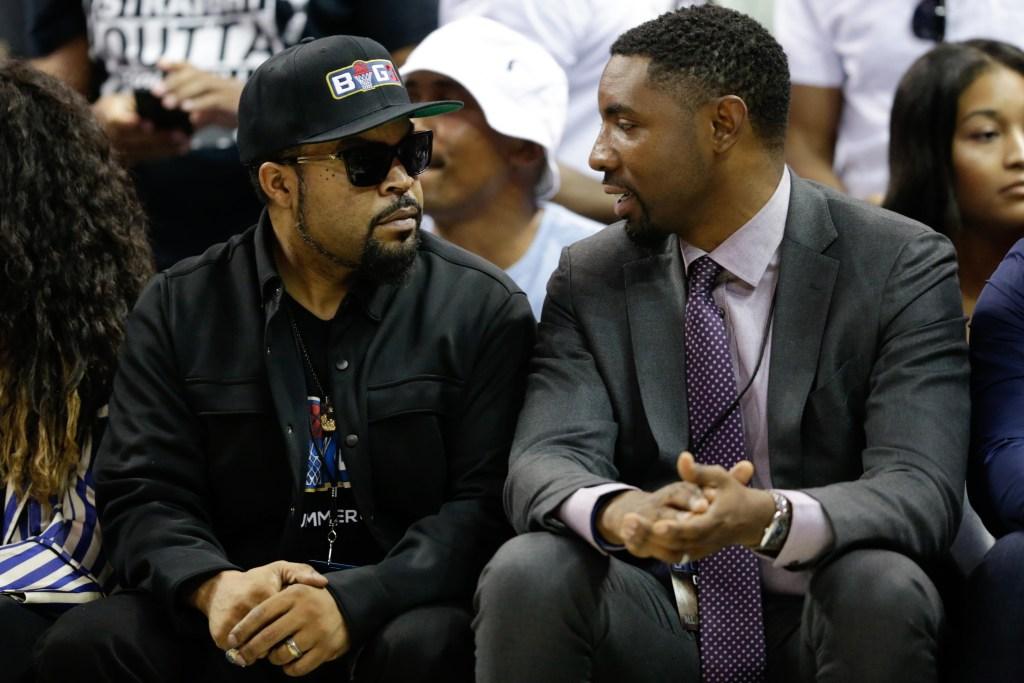 Big 3 founder Ice Cube talks with league President Roger Mason Jr.