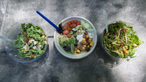 Left to right: Bowls from Honeygrow, Just Salad and Sweetgreen