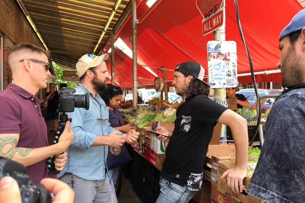 McBride preps for a video shoot in the Italian Market