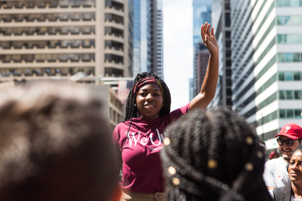 India Fenner, the March for Black Women organizer, arrived at Dilworth Park where she proceeded to address the march participants about when the march would begin earlier this afternoon.