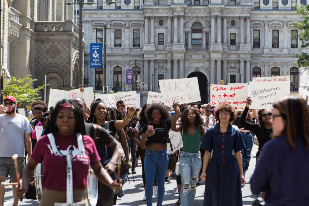 A group of over 100 protestors made their way up Broad Street from City Hall to Cecil B. Moore Ave. earlier this afternoon.