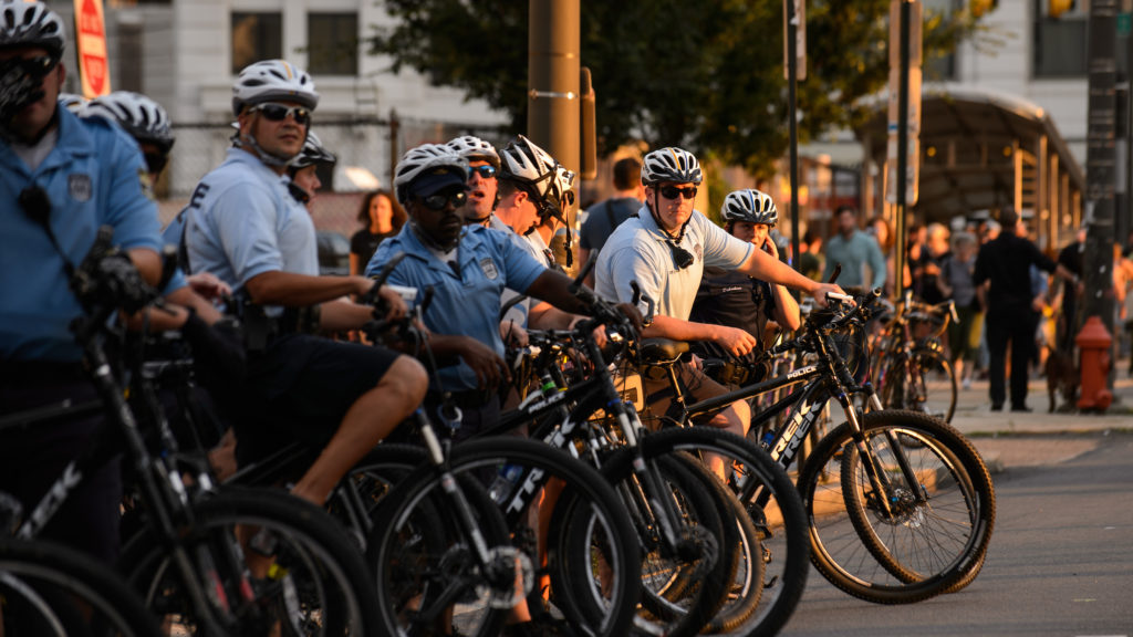 Philadelphia police monitor a protest in August 2017