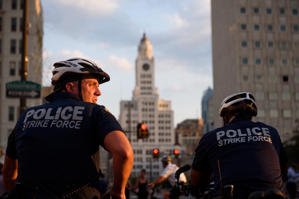 "Police monitor the ""Philly Is Charlottesville"" rally as theymake their way down Broad Street on Wednesday, August 16, 2017."