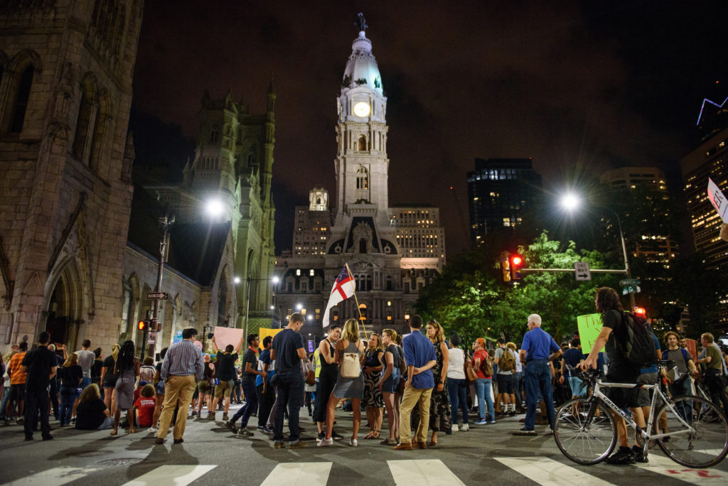 "Hundreds of protestors remain gathered outside of a packed Arch Street United Methodist Church to hear leaders speak out against violence, social inequality and other issues as part of the ""Philly Is Charlottesville"" rally on Wednesday, August 16, 2017."