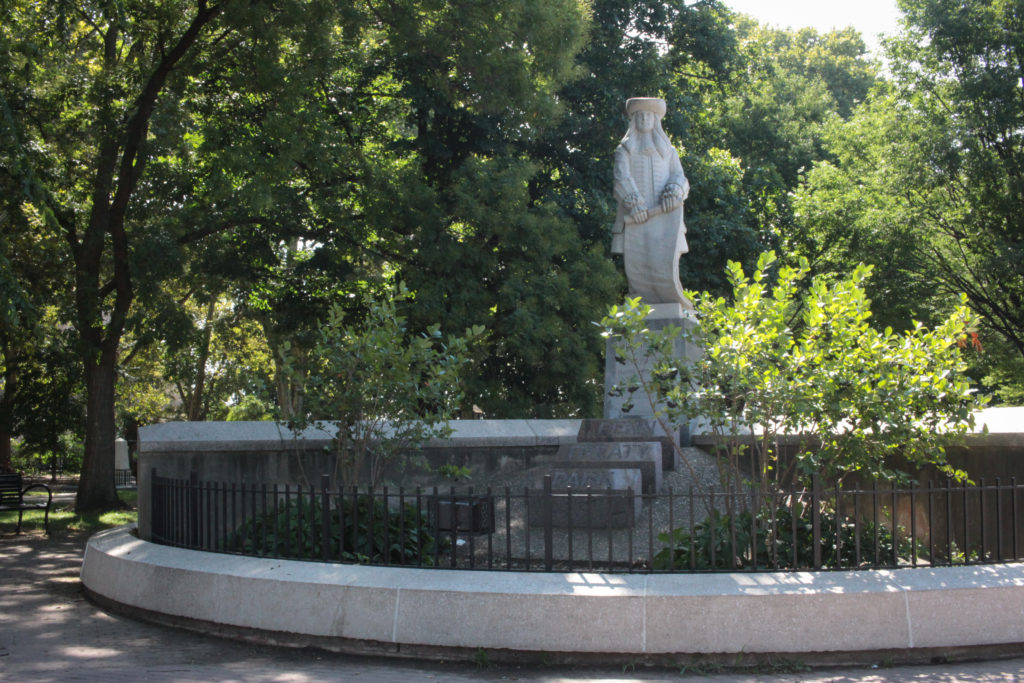 The William Penn statue in Fishtown's Penn Treaty Park, where he signed an agreement with the Lenni Lenape