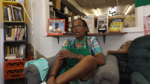 Faith Bartley discusses her time in and out of prison at The Village community storefront in North Philadelphia. Peak Johnson/Billy Penn