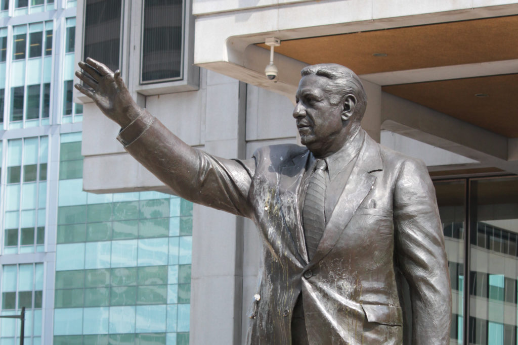 The Frank Rizzo statue was egged Wednesday morning following calls to remove it