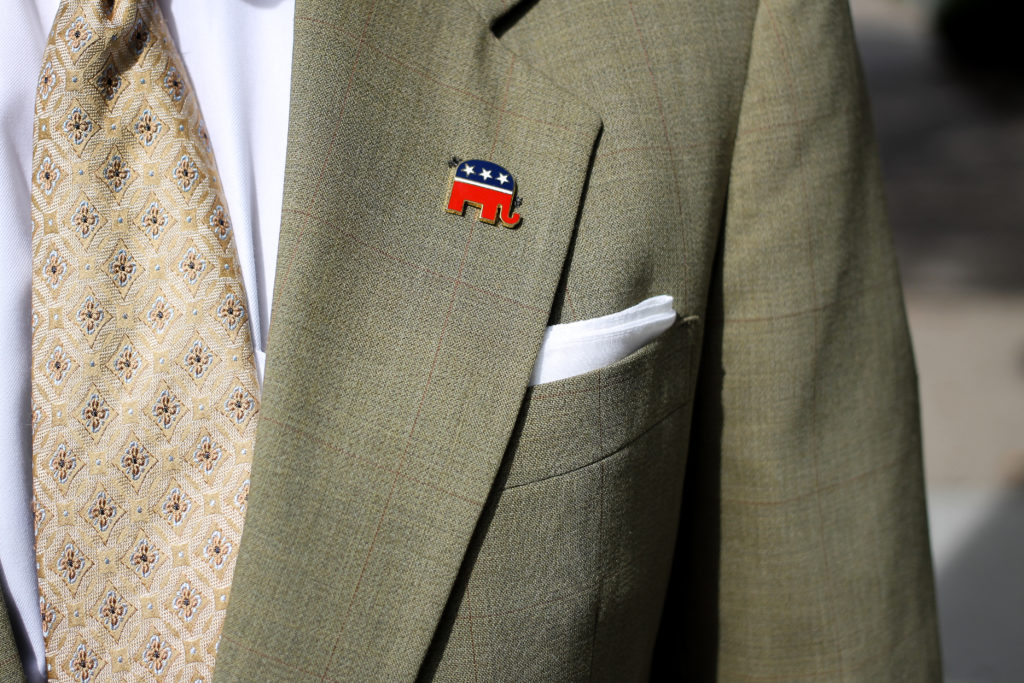 J. Matthew Wolfe, a Philadelphia-based lawyer, wears a pin representing the GOP. About one in seven Philadelphia residents identifies as Republican.