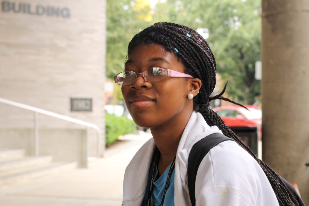 Ashley Salters from West Philly is studying criminal justice at CCP. 'I think it's like okay, like in some instances I guess it's kind of good. Because like, you're familiar with the area because you were, like, born here. So, like, you kind of somewhat know where everything is.'