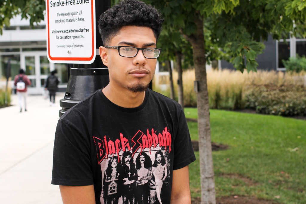 Joseph Fuentes from Northeast Philly is studying photographic imaging at Community College of Philadelphia. 'Not too much of a drastic difference. I mean, I'm pretty sure, like, everyone has crossed Spring Garden street and seen CCP. It's pretty normal, I mean, not that hard to configure.'