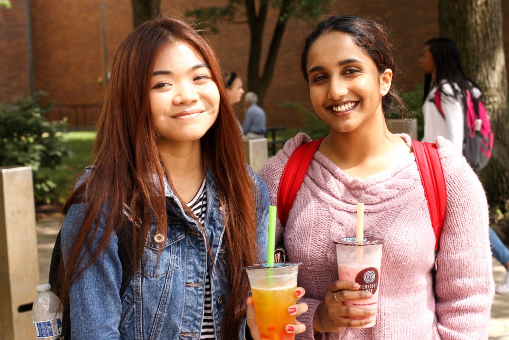 Aathira Jayamohan (right) from Allentown is studying computer science at Temple. 'There are a lot of job opportunities going on, and, like, ways to get ahead in your career. I also play violin, so, like, Philly's a big music city, so it's easy for me to, like, keep that up here too.'