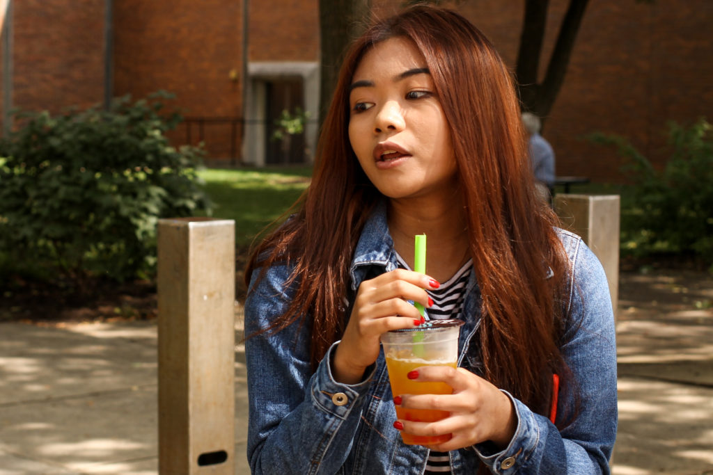 Ryanne Acuna fromDelaware County is studying Computer Science at  Temple. 'We love the nightlife here, and there's just, like, a lot to do here. It doesn't necessarily require a lot of money, so to speak, it's usually just transportation ... you can just stroll around.'