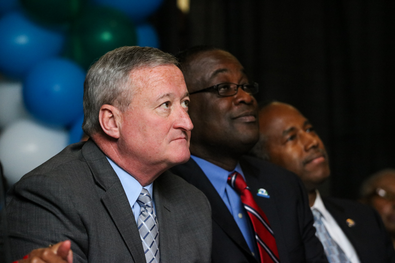 Jim Kenney sits in and speaks at the reopening ceremony for the Vaux Big Picture High School in North Philly.