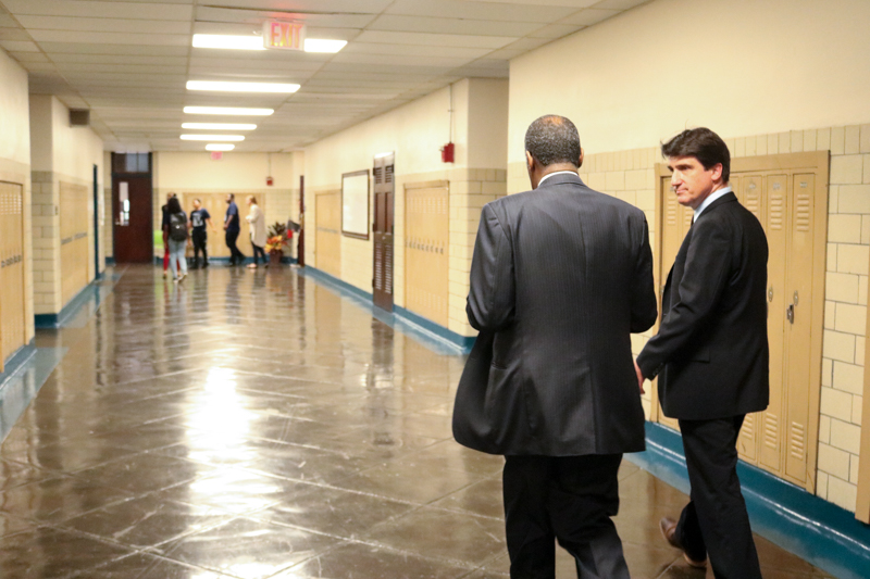 Secretary of Housing and Urban Development Ben Carson tours the newly reopened Vaux Big Picture High School.