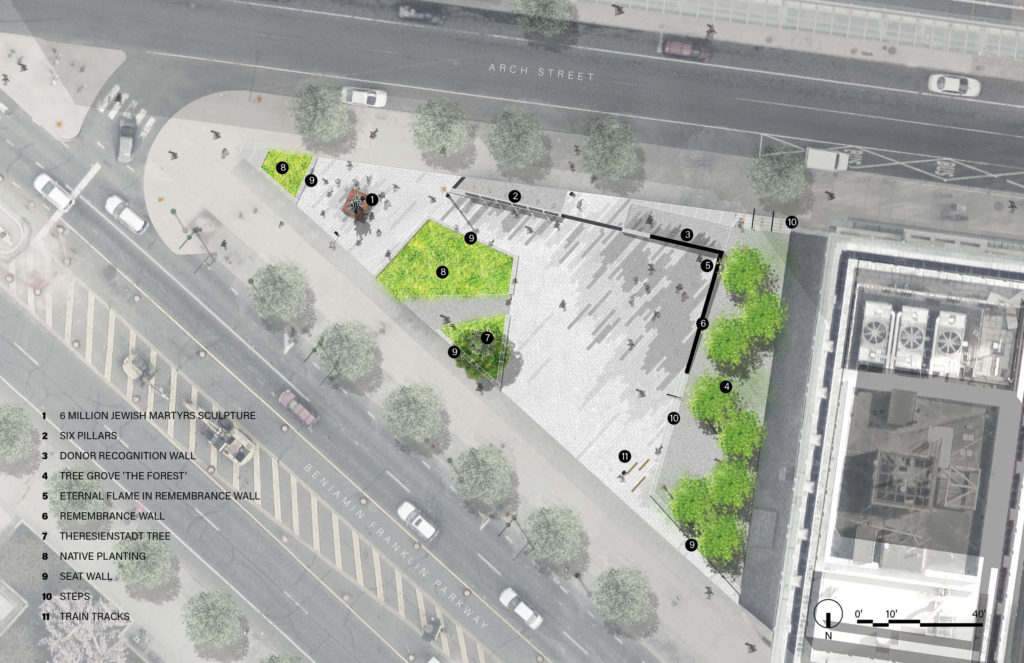 A site map of the future Philadelphia Holocaust Memorial Plaza, to be located at 16th and the Parkway.
