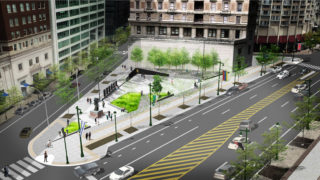 A rendering of the Philadelphia Holocaust Memorial Plaza.