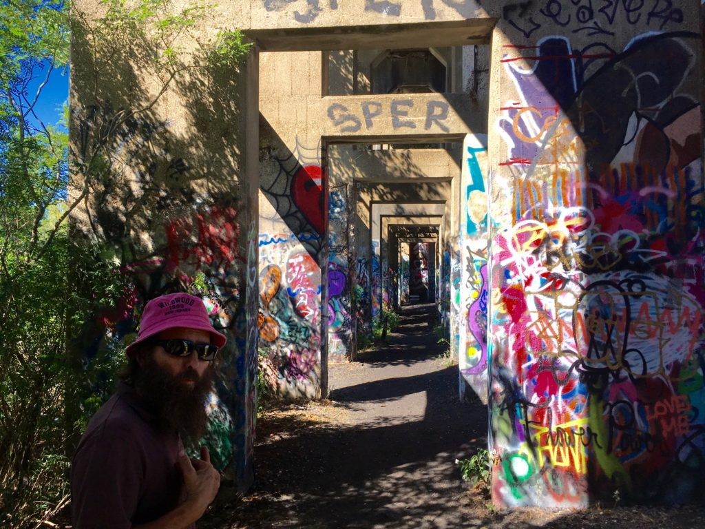 Ed Zampitella walks through Graffiti Pier.