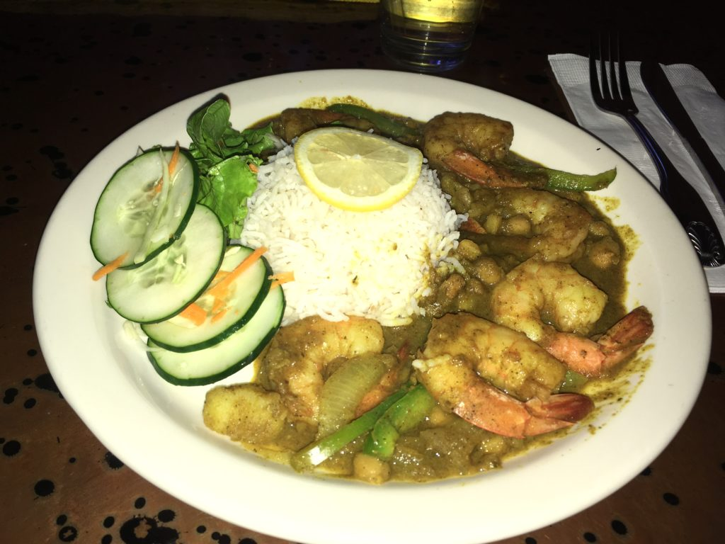 The curried shrimp.