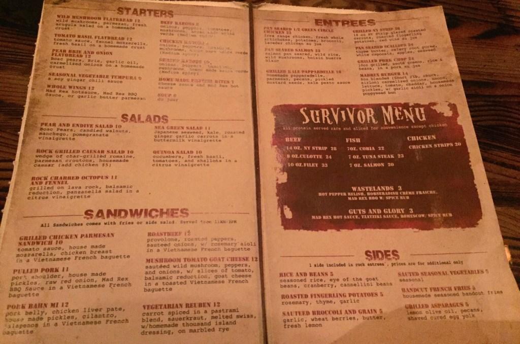 The Mad Rex menu