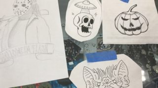 A couple of Halloween flash special sketches from Old Liberty Tattoo.