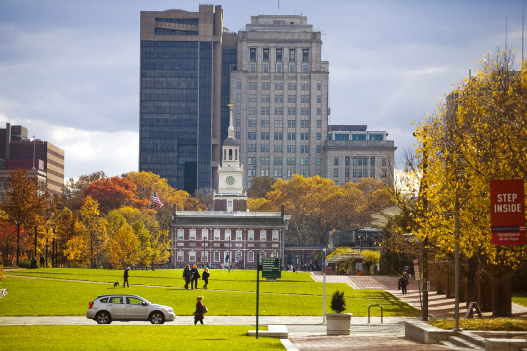 Independence Hall in autumn
