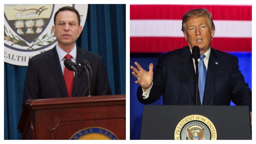 Left: Pennsylvania attorney general Josh Shapiro. Right: President Donald Trump.