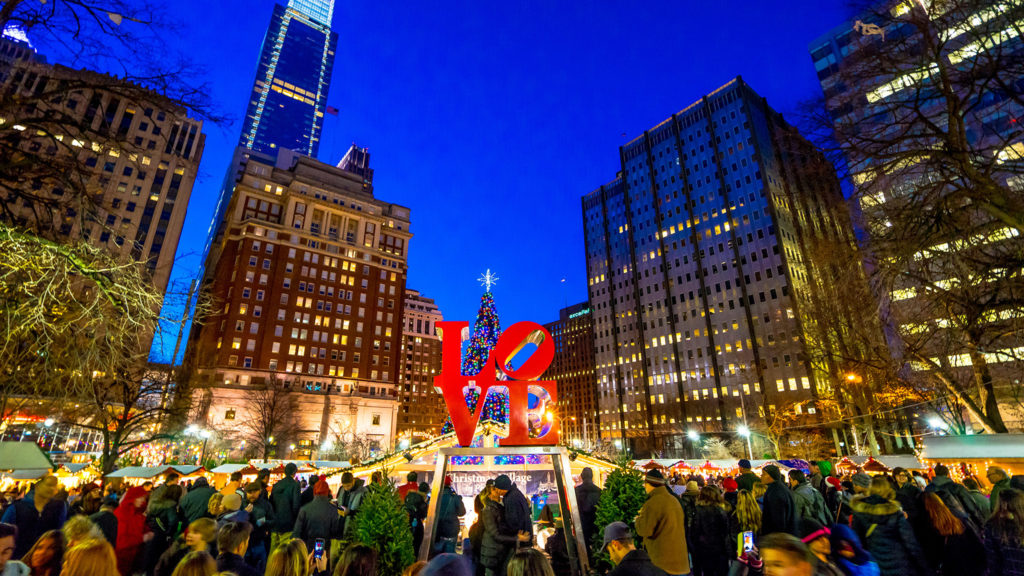 The Christmas Village at LOVE Park
