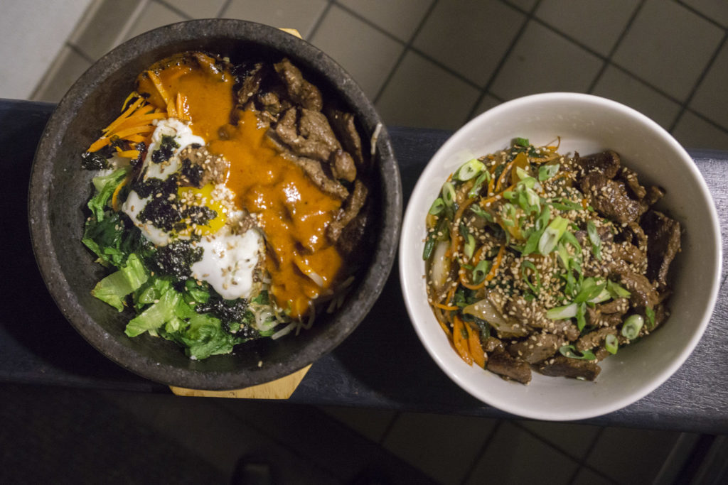 Bibimbap and japchae at Southgate