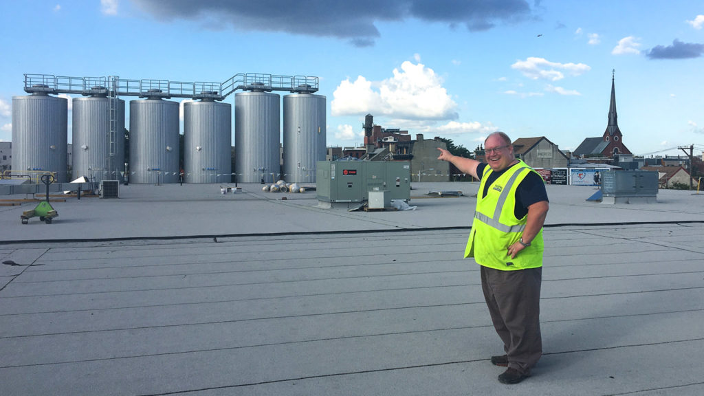 President and founder Tom Kehoe on the roof of the new Yards Brewing home