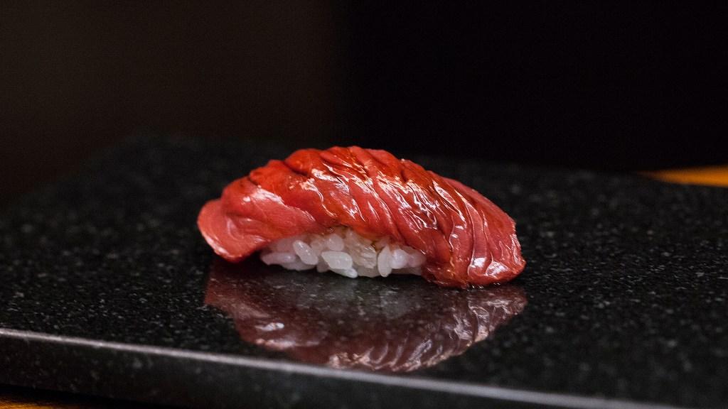 Bluefin akami (tuna) nigiri at Royal Izakaya